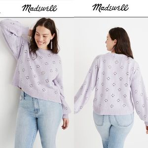 Madewell Pointelle Pullover Sweater Lilac XXL NEW